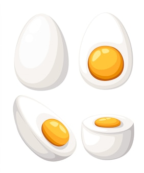 Cartoon ei op witte achtergrond. set van gebakken, gekookte, halve, gesneden eieren. illustratie. eieren in verschillende vormen. website-pagina en mobiele app.