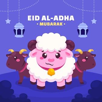 Cartoon eid al-adha illustratie