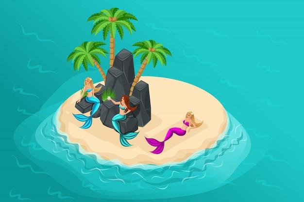 Cartoon eiland, sprookjesfiguren, zeemeerminnen op een onbewoond eiland, zitten op lodges, liggen op het zand, zee, oceaan