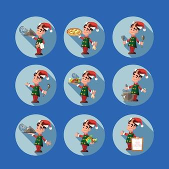 Cartoon elf voor kerstmis en nieuwjaar feest