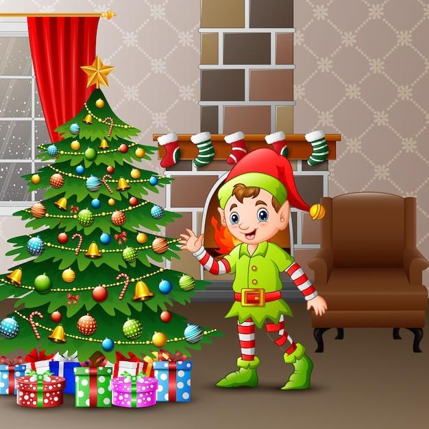 Cartoon elfjes en kerstboom