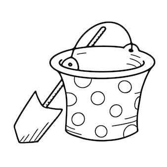 Cartoon emmer en schop speelgoedobject voor kleine kinderen om doodle-stijl te spelen