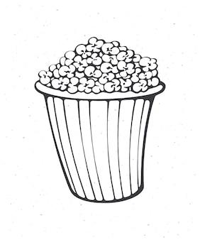 Cartoon emmer vol popcorn overzicht gestreepte papieren beker met junk snack vectorillustratie