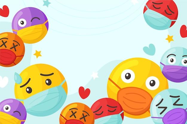 Cartoon emoji met gezichtsmasker achtergrond