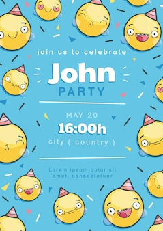 Cartoon emoji verjaardag uitnodiging sjabloon