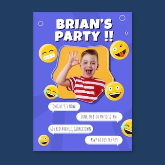 Cartoon emoji verjaardagsuitnodiging sjabloon met foto