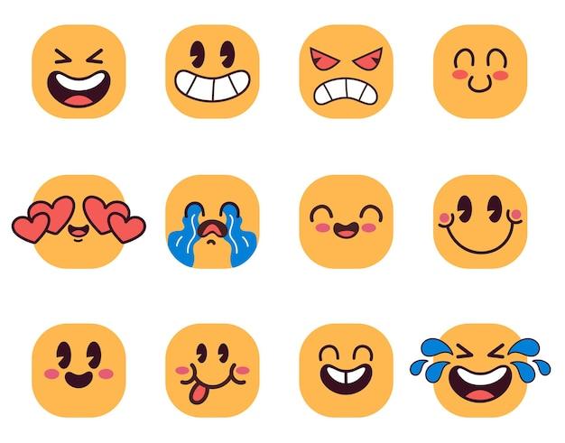 Cartoon emoticons geconfronteerd met emoji met verschillende emoties geïsoleerd op een witte achtergrond vector platte cartoon grafische afbeelding