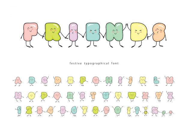 Cartoon emoticons lettertype. grappige vriendelijke karakters.
