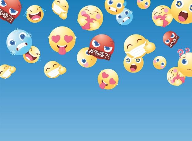 Cartoon emoticons voor reacties op sociale media chatreacties