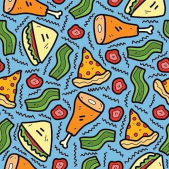 Cartoon eten doodle naadloze patroon ontwerp