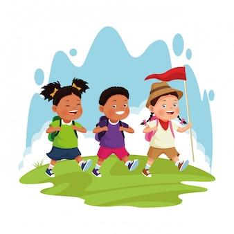 Cartoon explorer meisje en kinderen