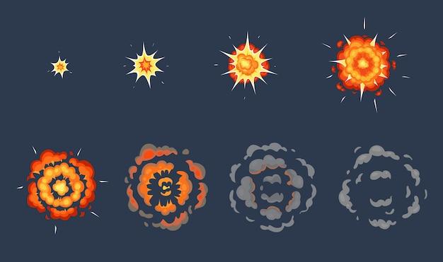 Cartoon explosie animatie. exploderende effectframes, geanimeerde opname exploderen met rookwolken illustratie set