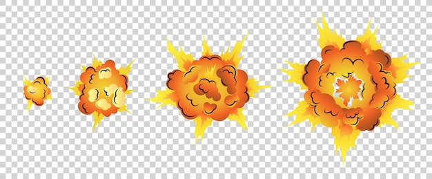 Cartoon explosie-animatie voor spel. boom storyboard comics-ontwerp. hand getekend exploderend effect.