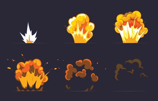 Cartoon explosie-effect met rook. effect boom, explosie flits, komische bom.