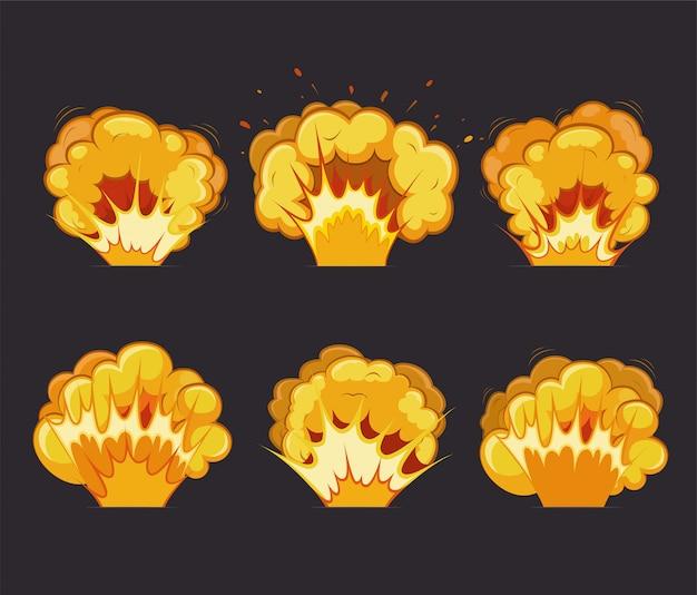 Cartoon explosie-effecten met flits,