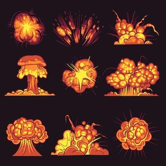 Cartoon explosies geïsoleerd op zwart