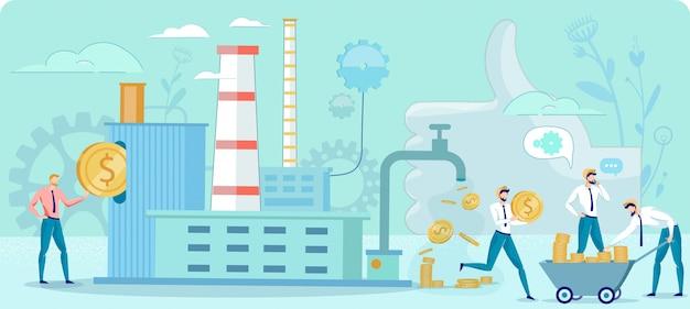 Cartoon fabriek voor het maken van geld platte metafoor