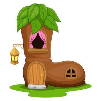 Cartoon fairy huis in de vorm van een laarzen