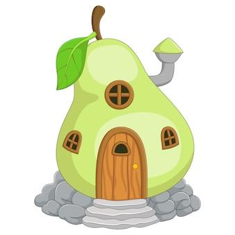 Cartoon fairy huis in de vorm van een peer