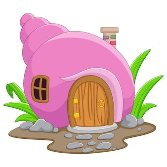 Cartoon fairy huis in de vorm van een schelp