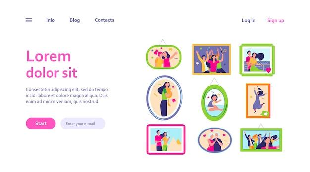 Cartoon familie fotolijsten geïsoleerde websjabloon. ingelijste portretten en afbeeldingen van gelukkige mensen aan de muur