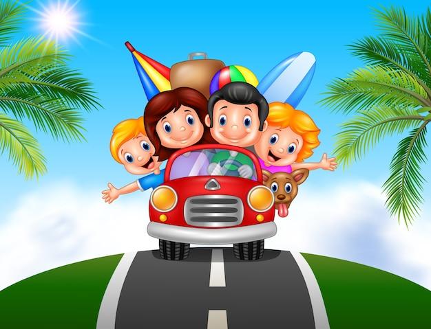 Cartoon familie vakantie