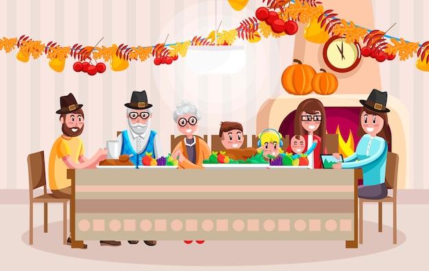 Cartoon familie vieren thanksgiving day