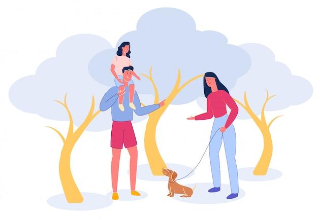 Cartoon familie wandeling in park met hond en kinderen.
