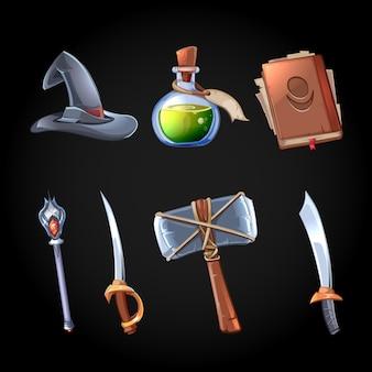 Cartoon fantasie magie en wapens pictogrammen instellen voor computerspel. zwaard en staf, hekserij en flesgif, hoed en hamer, spelobject voor app.