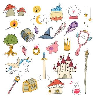 Cartoon fantasie spullen collectie