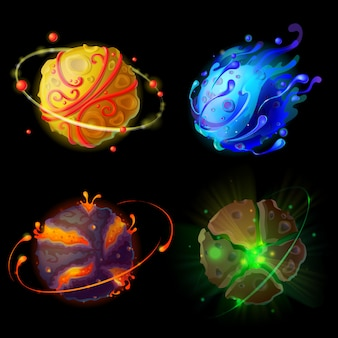 Cartoon fantastische planeten, werelden asteroïden ingesteld. kosmische, buitenaardse ruimte-elementen