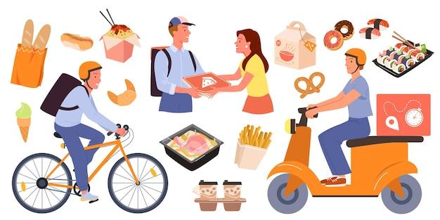 Cartoon fastfood bezorging met online bestelling van mobiele app op telefoonkoerier
