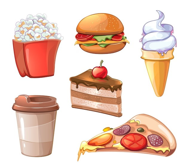 Cartoon fastfood clipart set. hamburger, hamburger en pizza, sandwich en fastfood, gebakken aardappel, popcorn en koffie