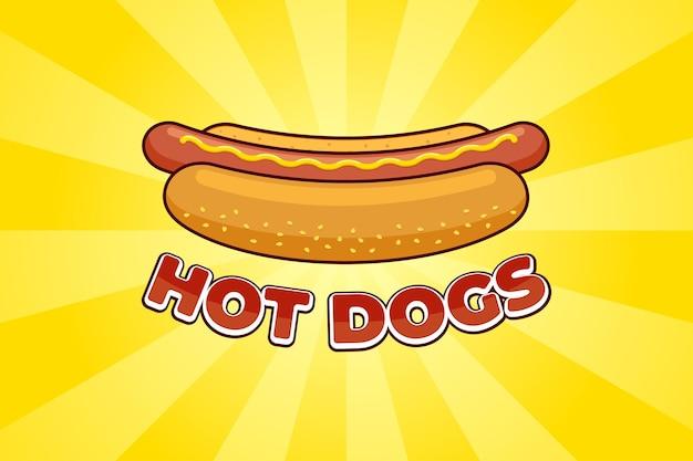 Cartoon fastfood maaltijd hotdog met inscriptie restaurant reclame poster ontwerpsjabloon. hotdog worst in brood met mosterd platte vector promo illustratie op gele stralen