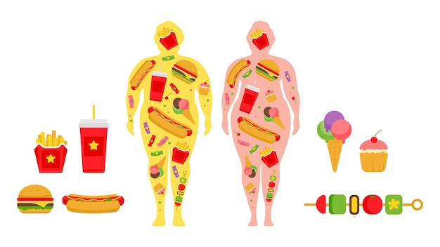 Cartoon fastfood obesitas voor conceptontwerp