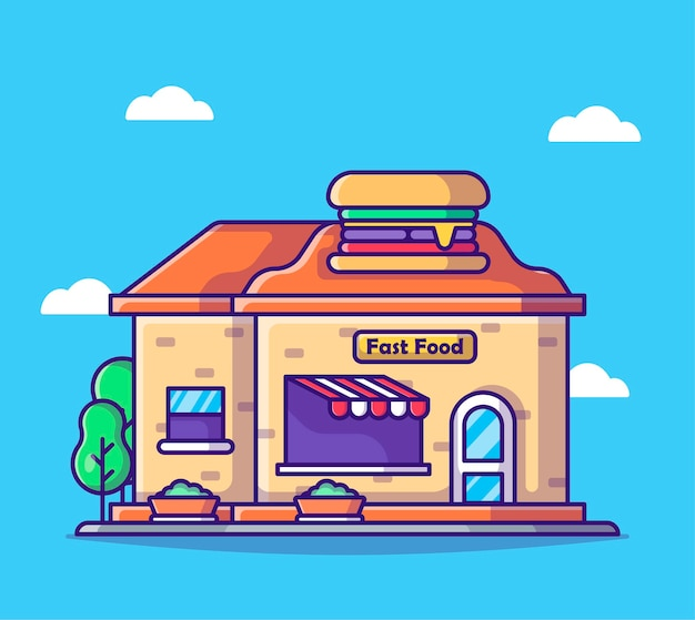 Cartoon fastfoodwinkel
