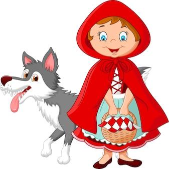 Cartoon fee prinses met gewaad en schattige wolf