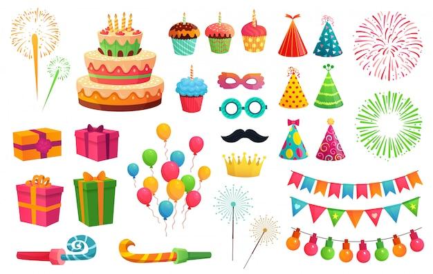 Cartoon feestpakket. raketvuurwerk, kleurrijke ballonnen en verjaardagscadeaus. carnaval-maskers en zoete cupcakes-illustratiereeks