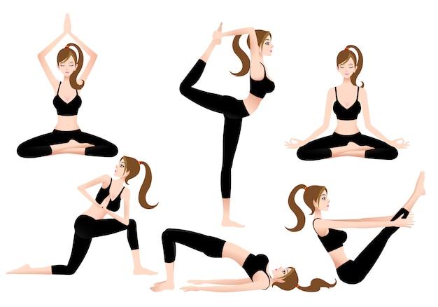 Cartoon female yoga trainer stelt je in staat om zelf yoga te spelen.