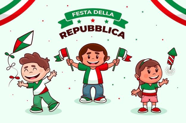 Cartoon festa della repubblica illustratie