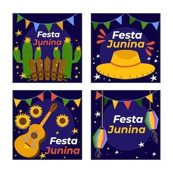 Cartoon festa junina kaarten collectie