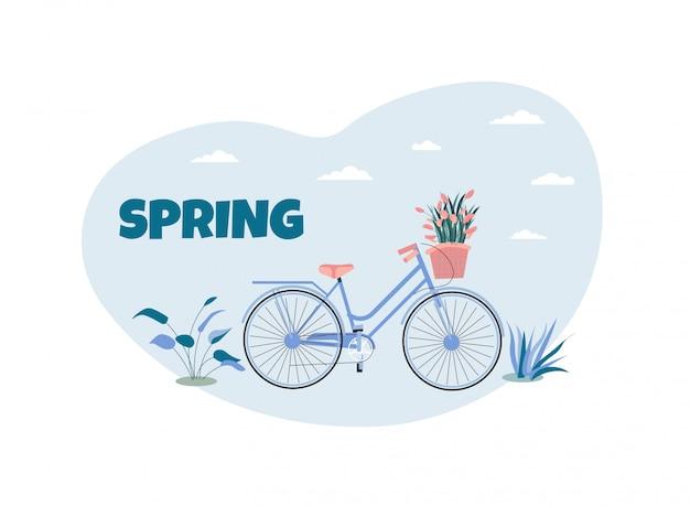 Cartoon fiets met mand natuurlijke samenstelling