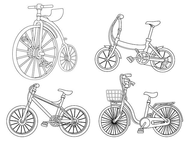 Cartoon fietsen kleurplaat pagina voor kinderen