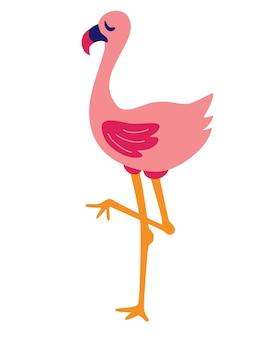 Cartoon flamingo-pictogram. wilde oerwoudvogel. schattige flamingo vectorillustratie op een witte achtergrond.