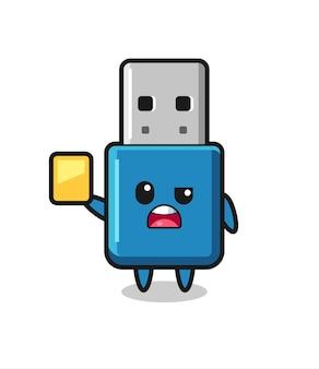 Cartoon flash drive usb-karakter als een voetbalscheidsrechter die een gele kaart geeft, schattig stijlontwerp voor t-shirt, sticker, logo-element