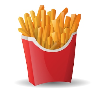 Cartoon franse frietjes fastfood