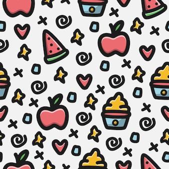 Cartoon fruit doodle patroon