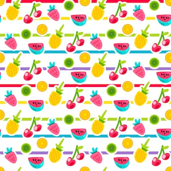 Cartoon fruit gestreepte naadloze vector patroon