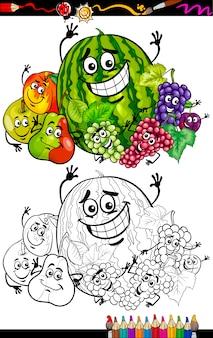 Cartoon fruit groep voor coloring boek