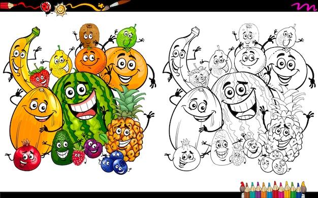 Cartoon fruit kleurplaat